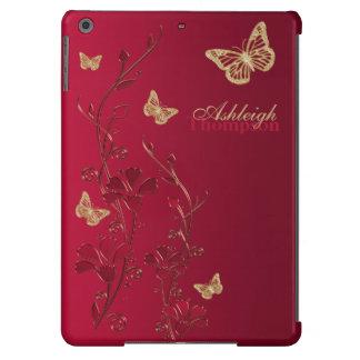 O vermelho e o iPad floral da borboleta do ouro ar Capa Para iPad Air