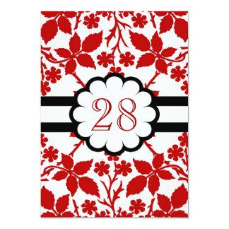 o vermelho floresce o aniversário de casamento convite 12.7 x 17.78cm