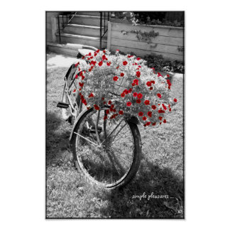 O vermelho preto e branco da bicicleta do vintage  posters