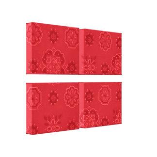 O vermelho retro do Bandanna esticou o impressão d Impressão Em Canvas