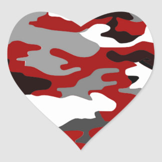 O vermelho sombreia Camo Adesivo Coração