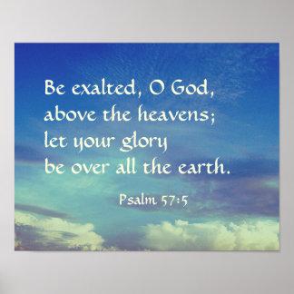 O verso da bíblia do 57:5 do salmo seja deus pôster