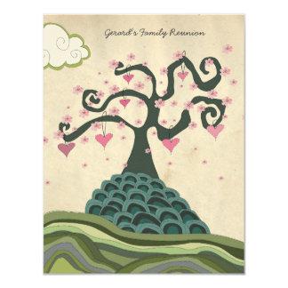 O vetor moderno da árvore do coração da reunião de convites
