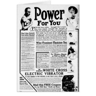 O vibrador elétrico transversal branco cartão