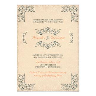 O Victorian antigo roda casamento da decoração do Convite 12.7 X 17.78cm