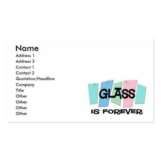 O vidro é Forever Modelo Cartão De Visita