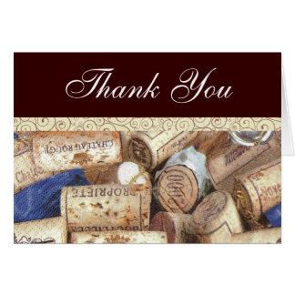O vinho arrolha cartões de agradecimentos