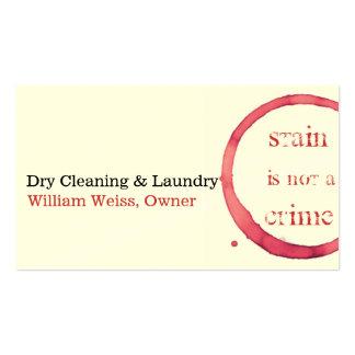 O vinho da tinturaria e da lavanderia mancha não cartão de visita
