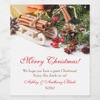 O vinho personalizado do Natal etiqueta a