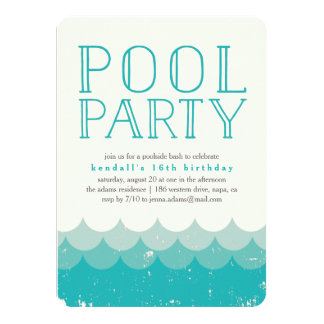 O vintage acena o convite da festa na piscina