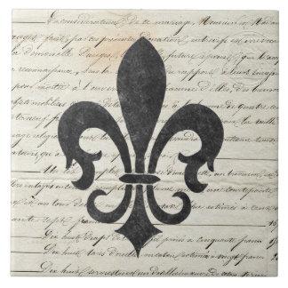 O vintage acentua a flor de lis francesa das azulejo quadrado grande