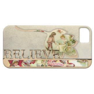 "O vintage ""acredita"" a capa de telefone do Natal Capa Barely There Para iPhone 5"