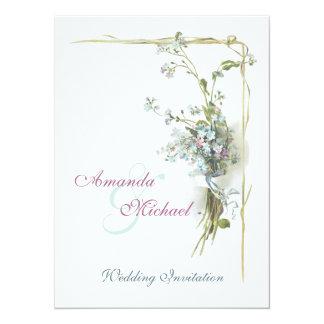 O vintage azul e cor-de-rosa floresce o casamento convite 13.97 x 19.05cm