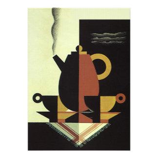 O vintage bebe o pote do café das bebidas com copo convite personalizado