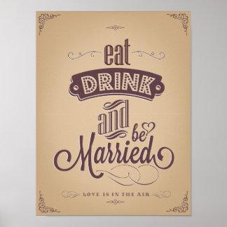 O vintage come a bebida seja casamento casado da pôster