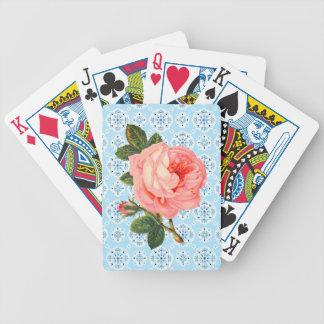 O vintage cor-de-rosa aumentou cartões de jogo cartas de baralhos