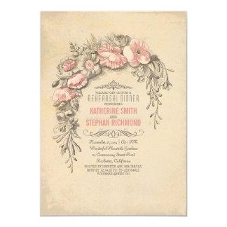 O vintage cor-de-rosa floresce o jantar de ensaio convites personalizado
