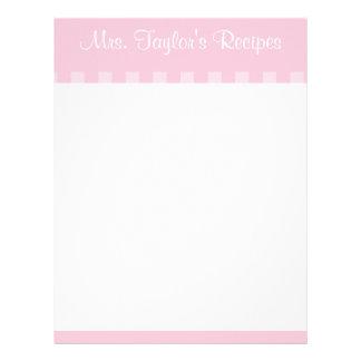 O vintage cor-de-rosa listra cartões da receita papel de carta