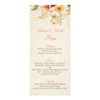 O vintage cora menu floral do casamento dos rosas