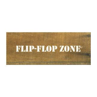 O vintage da zona do flip-flop inspirou o sinal de impressão de canvas esticadas