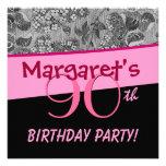 o vintage do rosa da festa de aniversário do 90 fl convites