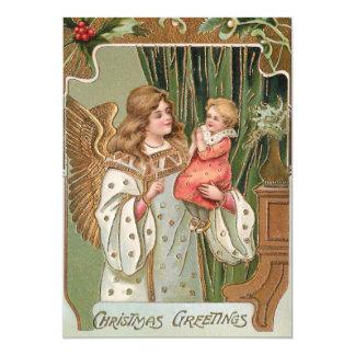 O vintage dourou o anjo e a criança convite 12.7 x 17.78cm