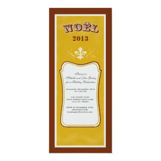 O vintage inspirou a festa de Natal da flor de lis Convite 10.16 X 23.49cm
