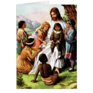 O vintage Jesus ama todo o cartão das crianças