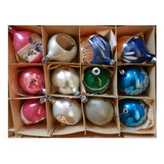 O vintage Ornaments o azul da prata do rosa da fot Cartões Postais