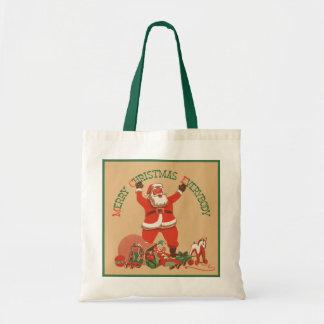 O vintage Papai Noel brinca o Feliz Natal todos Bolsa Para Compra
