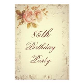 O vintage Paris carimba aniversário dos rosas Convite 12.7 X 17.78cm