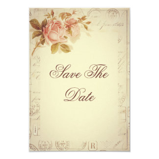 O vintage Paris carimba rosas chiques 75th Convite Personalizados