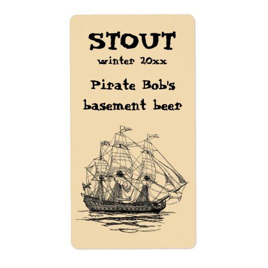 O vintage pirateia Galleon, esboço de um navio de Etiqueta De Frete