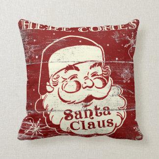 O vintage retro vem aqui travesseiro de Papai Noel Almofada