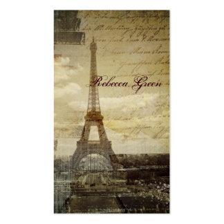 o vintage scripts o casamento da torre Eiffel de Cartão De Visita