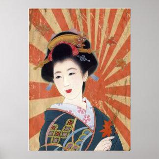 O vintage Sun irradia a gueixa japonesa retro Poster