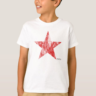 O vintage vermelho da estrela do piloto do café camiseta