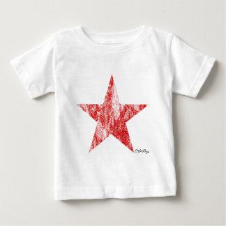 O vintage vermelho da estrela do piloto do café camiseta para bebê