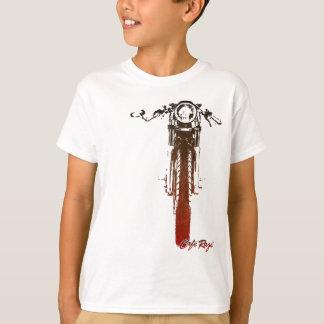 O vintage vermelho frontal do piloto do café camiseta