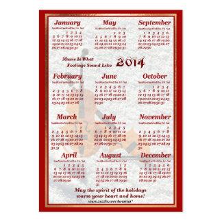 O violino 2014 deixou o calendário do bolso de ar cartão de visita grande