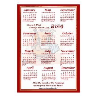 O violino 2014 do vintage deixou o calendário do cartão de visita grande