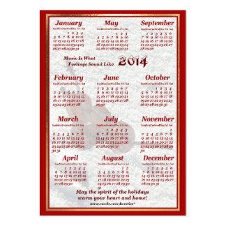 O violoncelo 2014 deixou o calendário do bolso de  cartoes de visitas