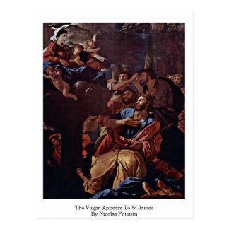 O Virgin aparece a St James por Nicolas Poussin Cartão Postal