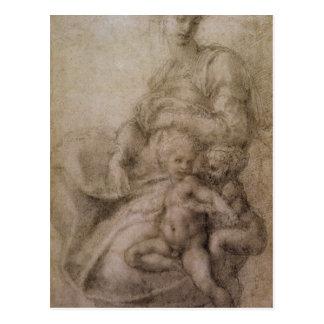 O Virgin e a criança com o baptista infantil Cartão Postal