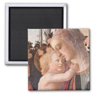 O Virgin e a criança de Alessandro Botticelli Ímã Quadrado