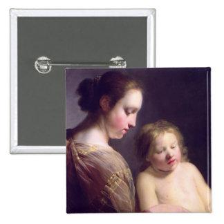 O Virgin que ensina o cristo infantil para ler Botons