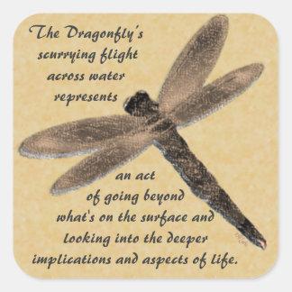 O vôo da libélula adesivo quadrado