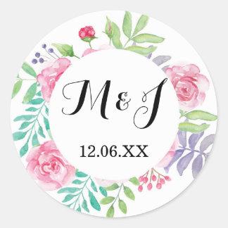 O Watercolour floral das etiquetas do casamento Adesivo