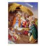 O x-mas religioso da natividade carda cartão comemorativo
