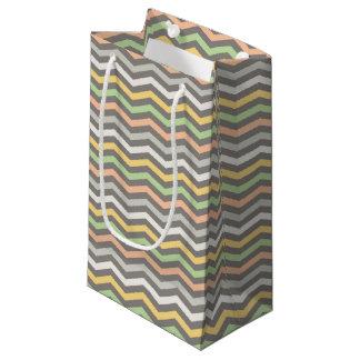 o ziguezague Multi-colorido alinha, Chevron - saco Sacola Para Presentes Pequena